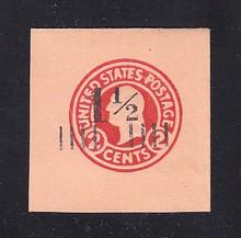 U503 1 1/2c on 2c Carmine on Oriental Buff, die 5, Mint Cut Square, 43 x 43