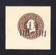 U505a 1 1/2c on 1 1/2c Brown on White, die 8, Mint Full Corner, 44 x 44