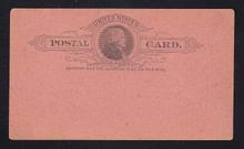 UX9 UPSS# S8 1c Thomas Jefferson, Black on SALMON PINK Mint Postal Card, crease LL corner
