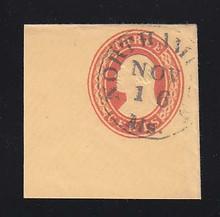 U4 3c Red on Buff, die 2, Used Full Corner, 45 x 45