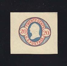 U43 20 Red & Blue on Buff, Mint Cut Square, 40 x 36
