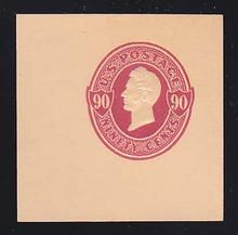 U214 90c Carmine on Oriental Buff, Mint Cut Square, 50 x 50