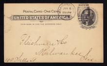 UX14 UPSS# S17 1c Thomas Jefferson, Black on Buff Used Postal Card, Earliest Reported Postmark, Jan 5, 1898