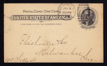 UX14 UPSS# S17 1c Thomas Jefferson, Black on Buff Used Postal Card, Earliest Reported Postmark, Jan 5, 1898