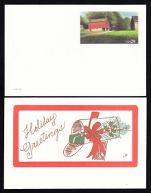UX198 UPSS# S212b 20c Red Barn-Holiday Greetings Mint Postal Card