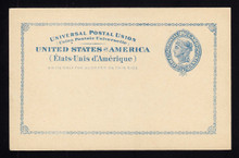 "UX13 UPSS# S16 2c Blue Liberty Head, Large Border, Large Border, International Mint Postal Card, Minor Corner ""Bumps"""