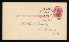 UX32 UPSS# S44-6, Buffalo Surcharge, Used Postal Card