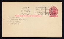 UX32 UPSS# S44-11, Cleveland Surcharge, Used Postal Card