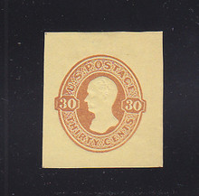U341 30c Red Brown on Amber Manila, Mint Cut Square, 35 x 39