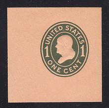 U402 1c Green on Oriental Buff, die 1, Mint Cut Square, 47 x 47