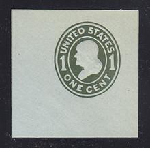 U403 1c Green on Blue, die 1, Mint Cut Square, 47 x 47