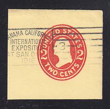 U411f 2c Carmine on Amber, die 7, Used Cut Square, 50 x 48