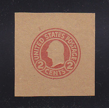 W435 2c Carmine on Brown (Unglazed), Mint Cut Square, 42 x 44