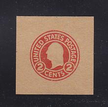 W435 2c Carmine on Brown (Unglazed), Mint Cut Square, 41 x 41