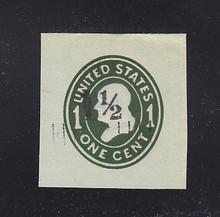 U493 1 1/2c on 1c Green on Blue, die 4, Mint Cut Square, 38 x 40