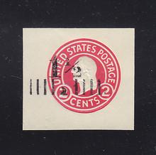 U502d 1 1/2c on 2c Carmine on White, die 8, Mint Cut Square, 40 x 37