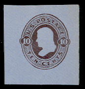 U192 10c Brown on Blue, die 2, Mint Cut Square