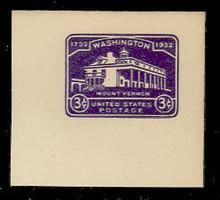 U526 3c Mount Vernon, Violet, Mint Full Corner