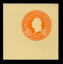 U530 6c Washington Orange on Amber, Mint Full Corner