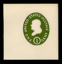 U532 1c Franklin Green on White, die 1, Mint Full Corner