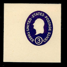 U534a 3c Washington, Dark Violet, die 1, Mint Full Corner