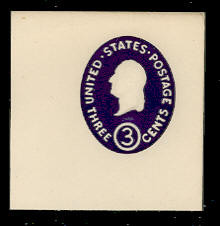 U534b 3c Washington, Dark Violet, die 2, Mint Full Corner