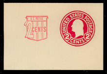 U537 2c + 2c Washington, Carmine, die 1, Mint Full Corner