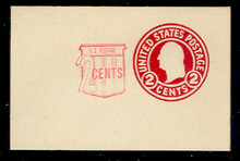 U537b 2c + 2c Washington, Carmine, die 9, Mint Full Corner