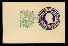 U539 3c + 1c Washington, Purple, die 1, Mint Full Corner