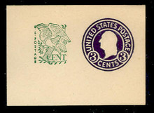 U539a 3c + 1c Washington, Purple, die 7, Mint Full Corner