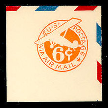 UC3 6c Orange, die 2a, Mint Full Corner