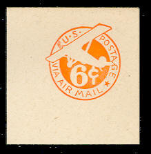 UC3 6c Orange, die 2a, No Border, Mint Full Corner