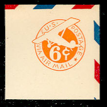 UC4 6c Orange, die 2b, Mint Full Corner
