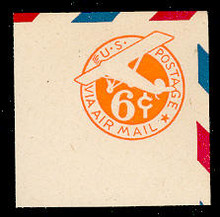 UC6 6c Orange, die 3, with Border, Mint Full Corner