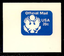 UO73 20c Great Seal, Blue, Mint Full Corner