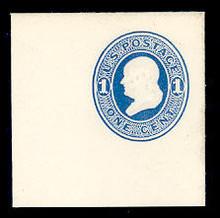 U74 1c Blue on White, Mint Full Corner, 50 x 50
