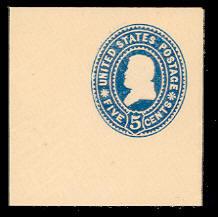 U377 5c Blue on White, Mint Full Corner, 50 x 50