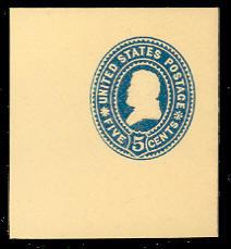 U378 5c Blue on Amber, Mint Full Corner, 50 x 50