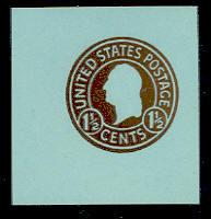 U483a 1 1/2c Brown on Blue, die 8, Mint Cut Square