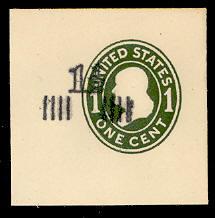 U510 1 1/2c on 1c Green on White, die 1, Mint Full Corner