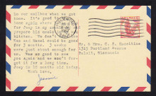 UXC3 UPSS# SA3c2 5c Eagle, red and blue Border Used Postal Card, Thin Dividing Line at bottom