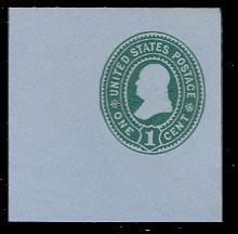 U355 1c Green on Blue, Mint Full Corner, 50 x 50