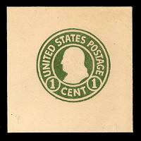 U420a 1c Green on White, die 2, Mint Cut Square, 38 x 38