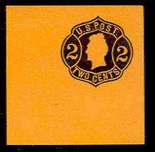 U56 2c Black on Orange, die 4, Mint Full Corner, 50 x 50
