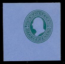 U166 3c Green on Blue, die 2, Mint Full Corner, 50 x 50