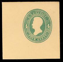U251 4c Green on Amber, die 1, Mint Full Corner, 50 x 50