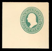 U163 3c Green on White, die 2, Mint Full Corner, 50 x 50