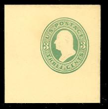 U164 3c Green on Amber, die 2, Mint Full Corner, 50 x 50