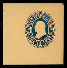 U302 1c Dark Blue on Manila, Mint Full Corner, 50 x 50