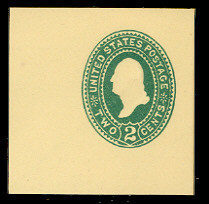 U312 2c Green on Amber, die 2, Mint Cut Square